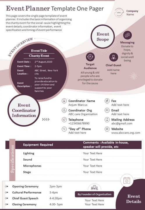 Event Planner Template One Pager Presentation Report Infographic PPT PDF Document