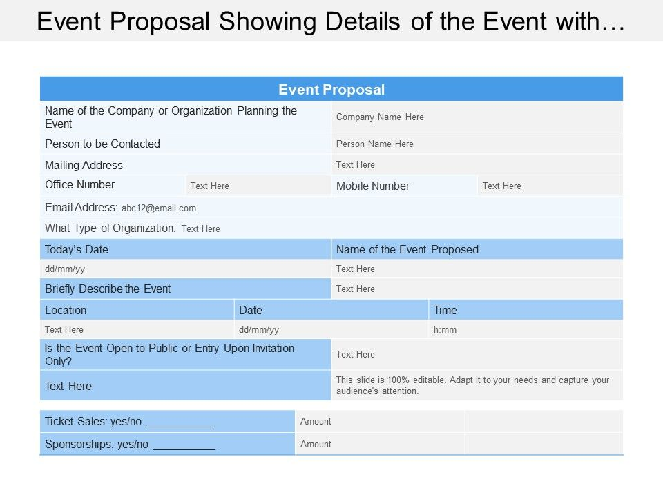 Event Proposal Showing Details Of The Event With Location Data And Time Powerpoint Shapes Powerpoint Slide Deck Template Presentation Visual Aids Slide Ppt