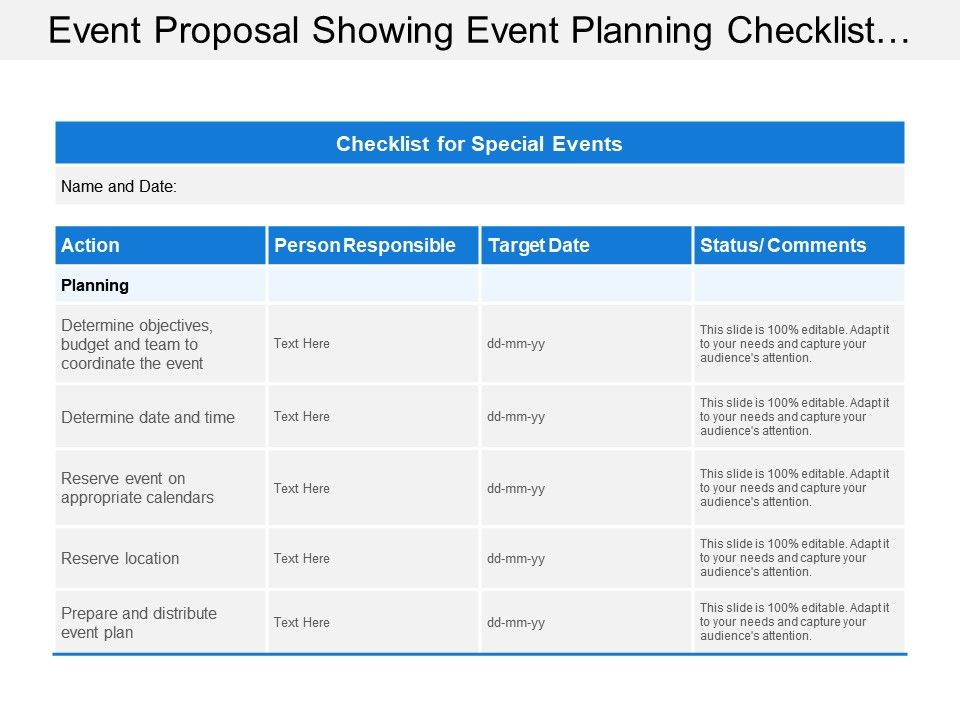 Event Proposal Showing Event Planning Checklist With Action Target Date And Person Responsible Presentation Powerpoint Images Example Of Ppt Presentation Ppt Slide Layouts