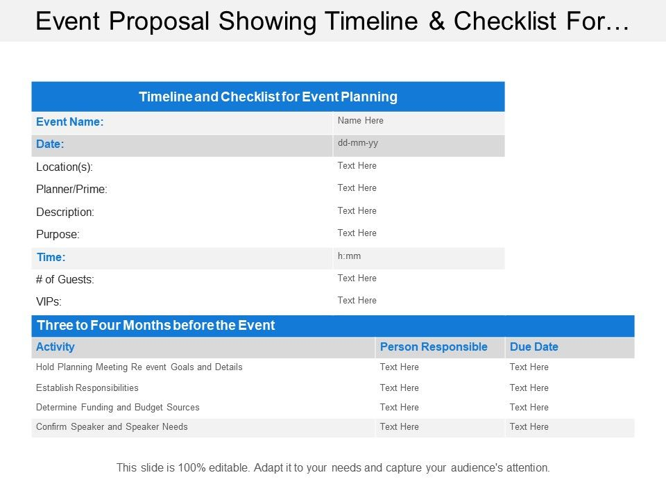 Event Proposal Showing Timeline And Checklist For Event Planning Powerpoint Templates Download Ppt Background Template Graphics Presentation
