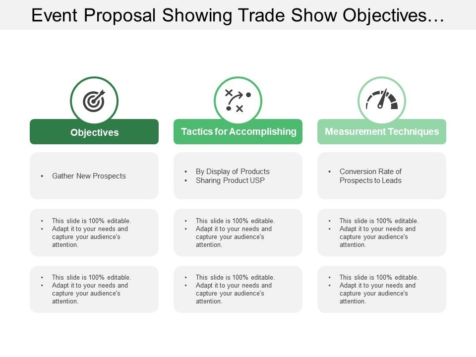 Event Proposal Showing Trade Show Objectives With Measurement