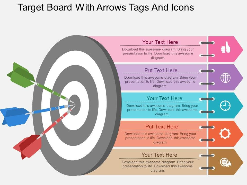ew_target_board_with_arrows_tags_and_icons_flat_powerpoint_design_Slide01