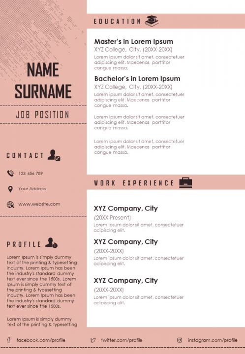 Example Curriculum Vitae Business Resume A4 Template