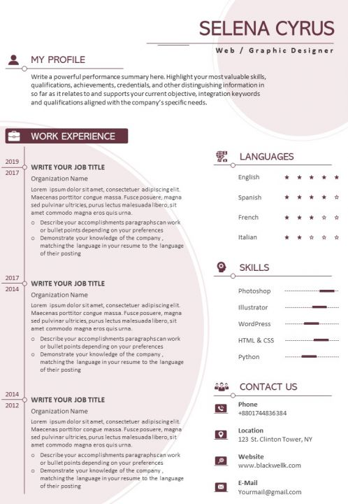 Example Curriculum Vitae Template With Awards And Certifications