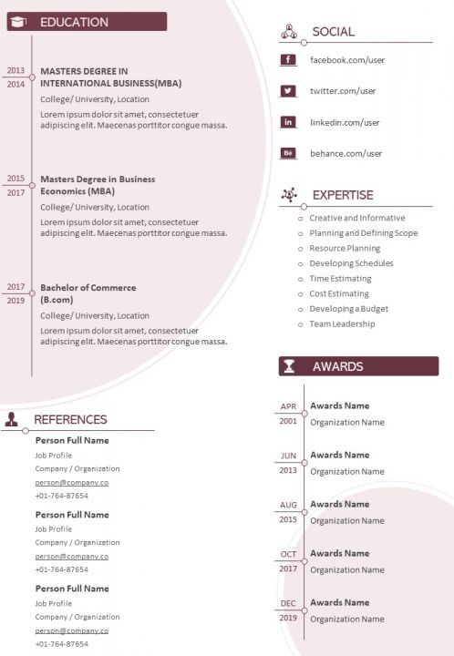 Example Curriculum Vitae Template With Awards And Certifications Powerpoint Templates Designs Ppt Slide Examples Presentation Outline