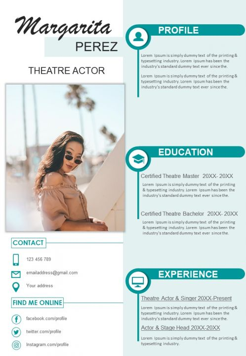Example Resume Format For Theatre Actor
