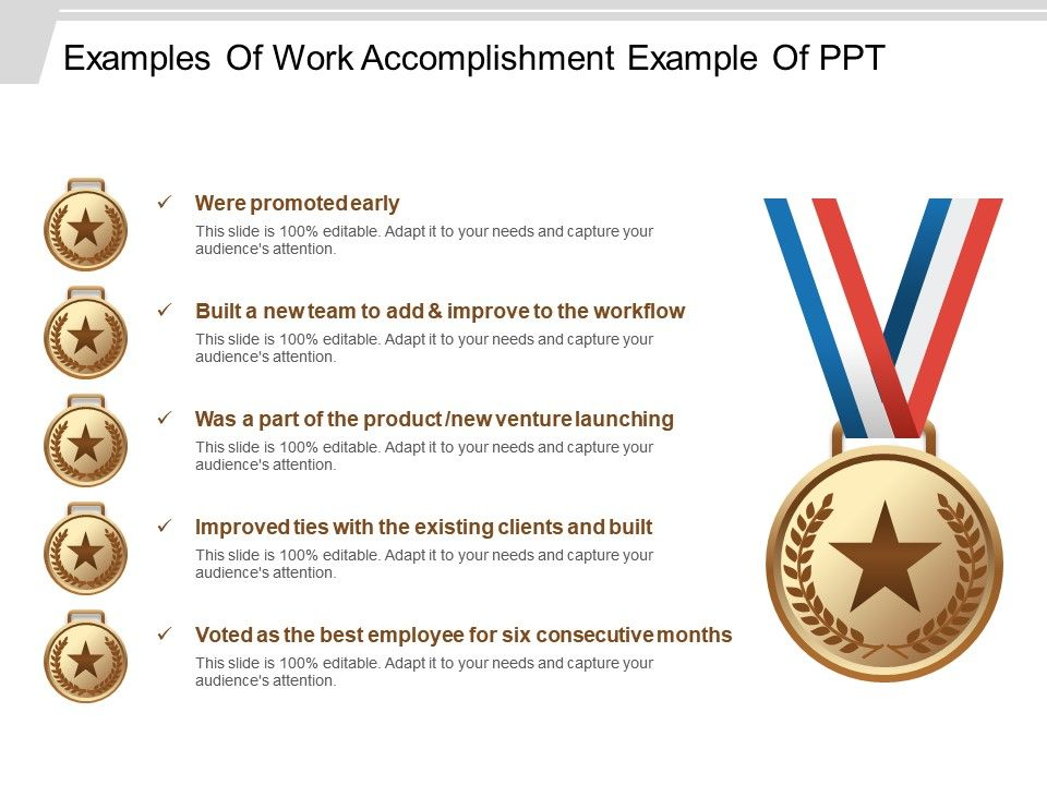 work accomplishment examples