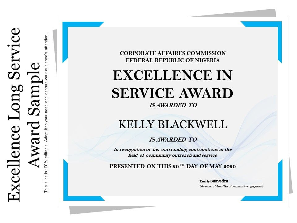 Excellence Long Service Award Sample