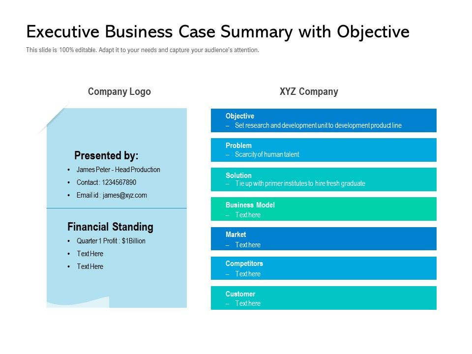 Executive Business Case Summary With Objective