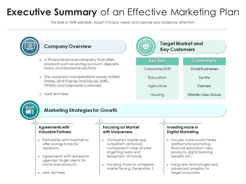 Executive Summary Of An Effective Marketing Plan