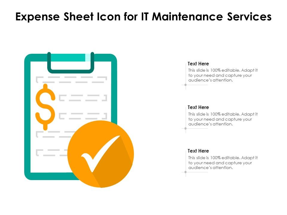 Expense Sheet Icon For It Maintenance Services