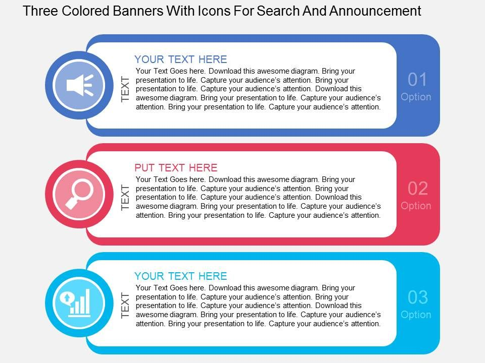 fa three colored banners with icons for search and announcement, Presentation templates