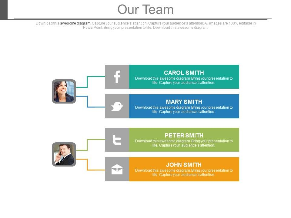 Facebook Twitter Email Communication With Team Powerpoint