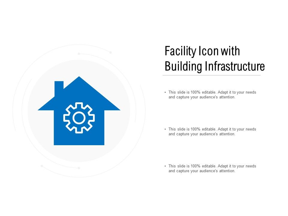 Facility Icon With Building Infrastructure Powerpoint Slides