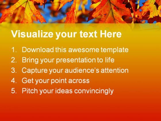 fall oak leaves nature powerpoint templates and powerpoint, Powerpoint templates