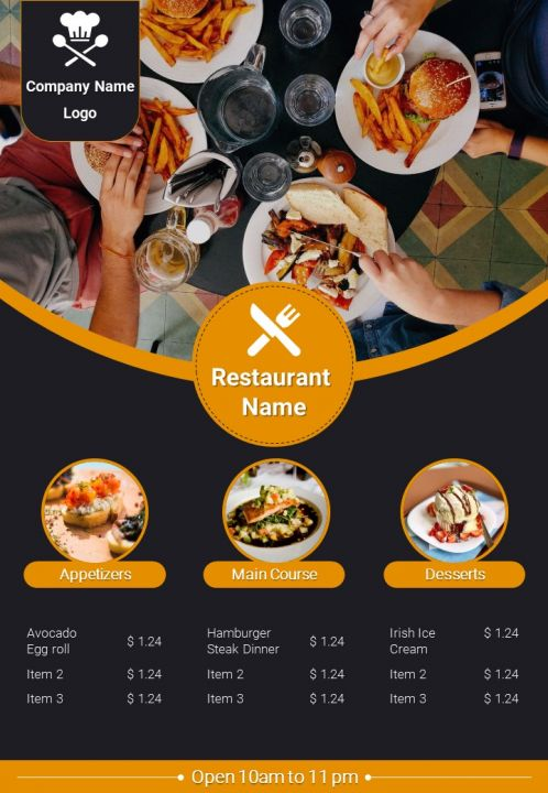 Fast Food Restaurant Menu Brochure Two Page Flyer Template Powerpoint Slides Diagrams Themes For Ppt Presentations Graphic Ideas