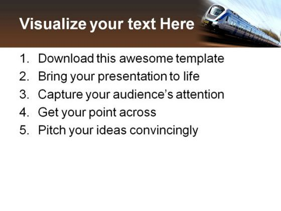 Fast Train Travel PowerPoint Templates And PowerPoint Backgrounds 0511  Presentation Themes and Graphics Slide03
