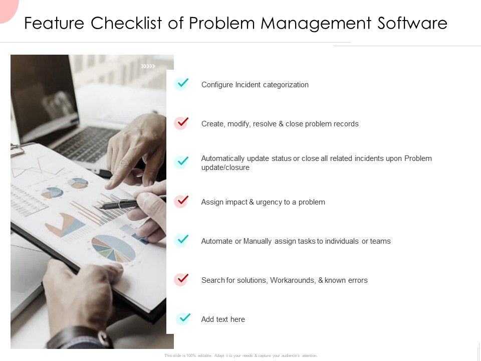 Feature Checklist Of Problem Management Software Ppt Powerpoint Presentation Icon