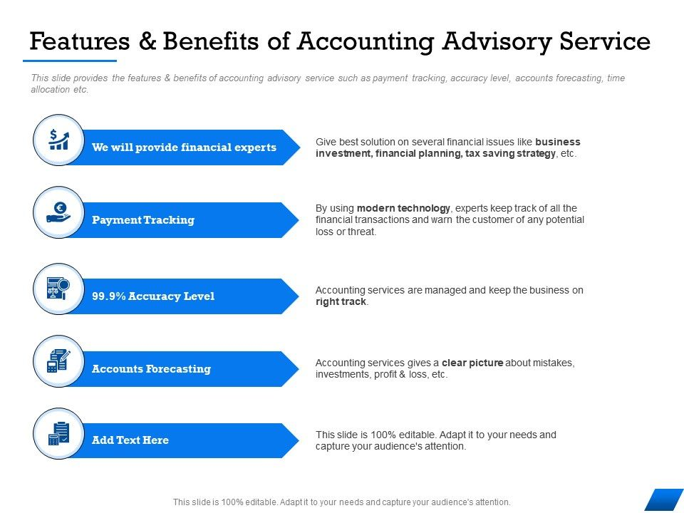 Features And Benefits Of Accounting Advisory Service And Warn Ppt Powerpoint Presentation Ideas Smartart