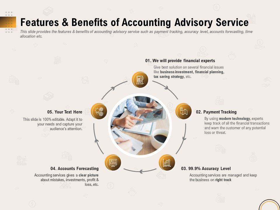 Features And Benefits Of Accounting Advisory Service Ppt File Topics
