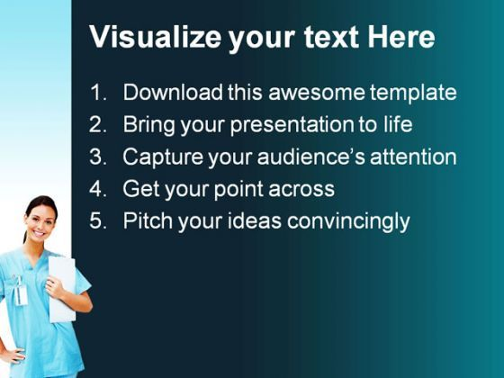 female doctor smiling medical powerpoint templates and powerpoint, Presentation templates