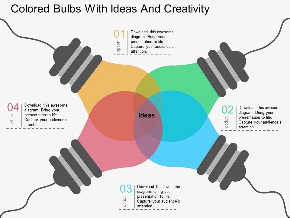 fg colored bulbs with ideas and creativity flat powerpoint design