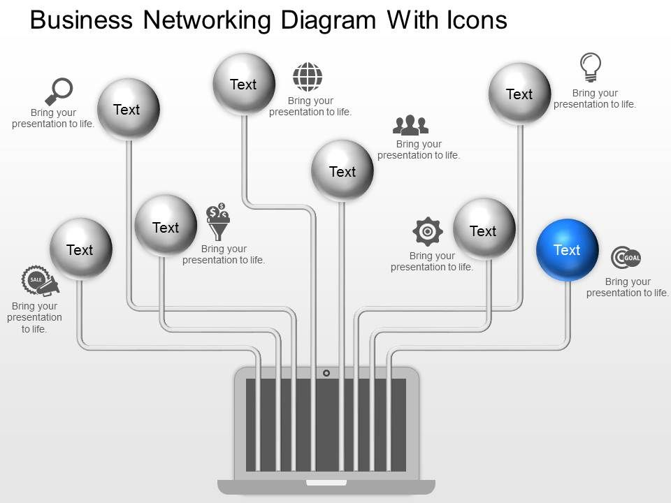 Fh Business Networking Diagram With Icons Powerpoint Template