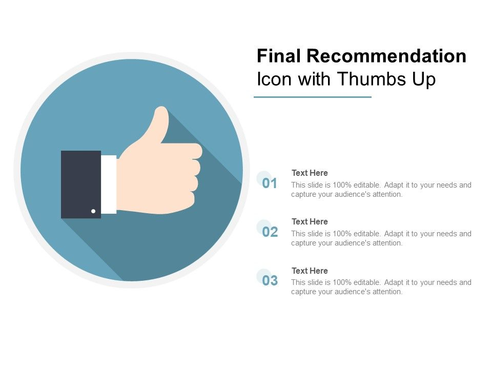 Final Recommendation Icon With Thumbs Up