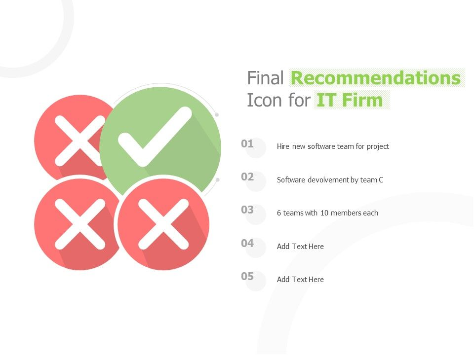 Final Recommendations Icon For IT Firm