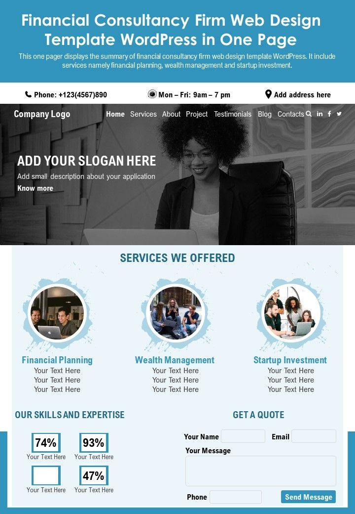 Financial Consultancy Firm Web Design Template Wordpress In One Page Report Infographic PPT PDF Document