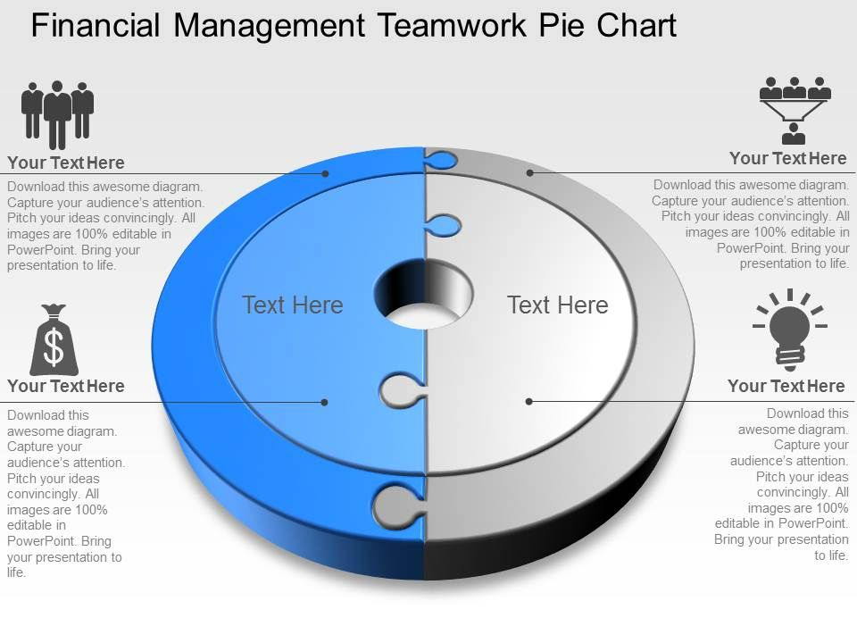 financial management teamwork pie chart powerpoint template slide, Powerpoint templates
