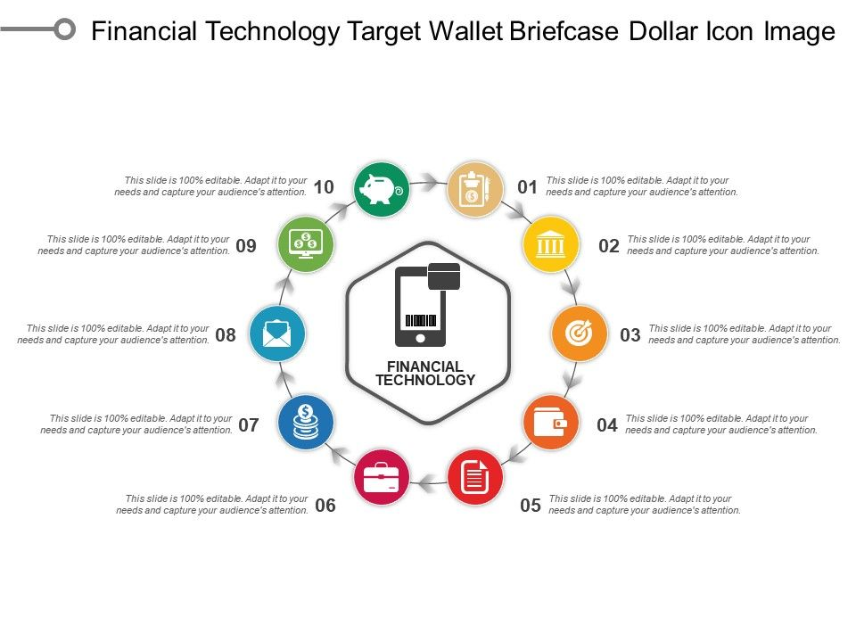 financial technology target wallet briefcase dollar icon image