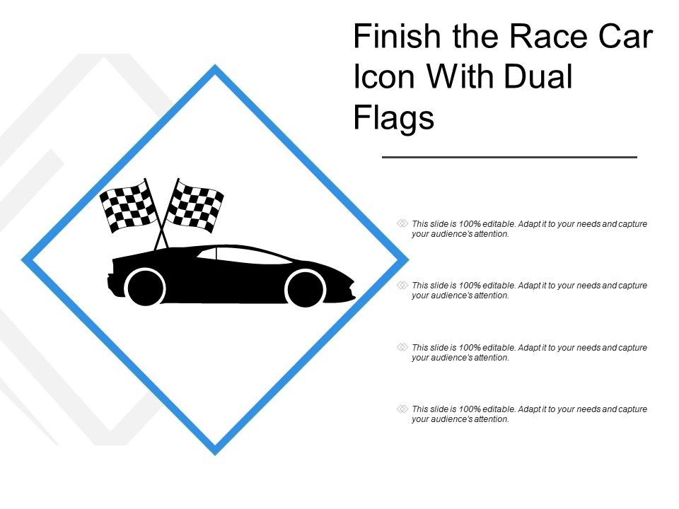 Finish The Race Car Icon With Dual Flags | PowerPoint Slides