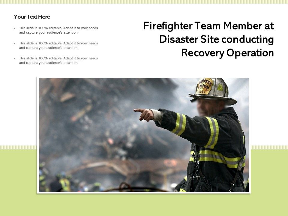 Firefighter Team Member At Disaster Site Conducting Recovery Operation