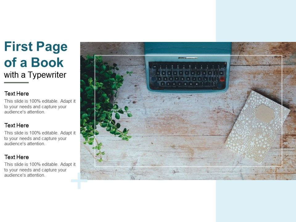 First Page Of A Book With A Typewriter Powerpoint