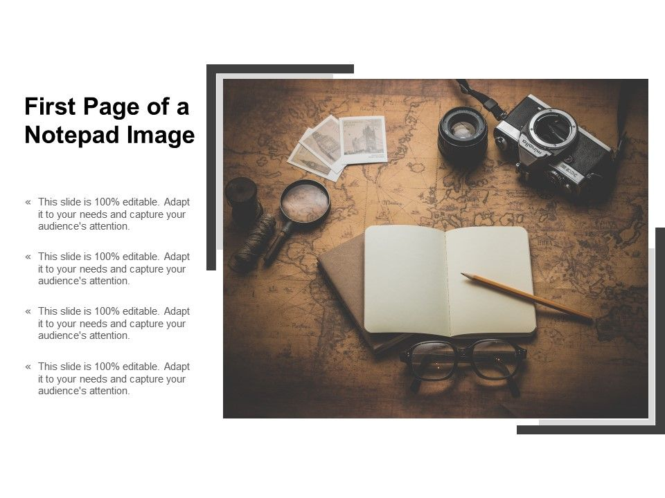 First Page Of A Notepad Image Presentation Powerpoint