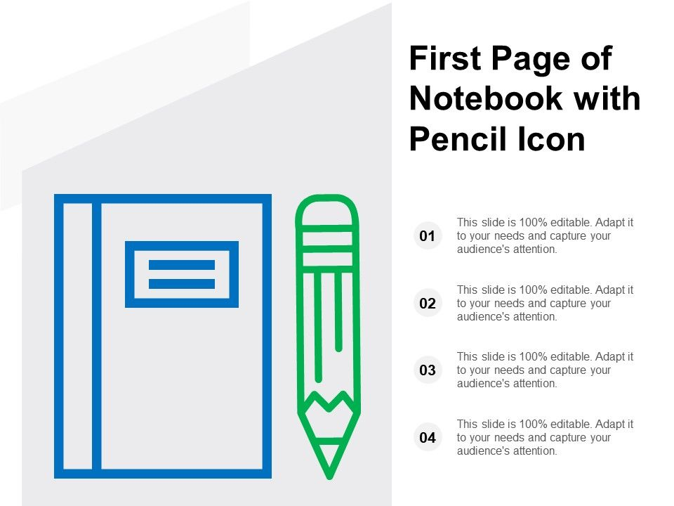 First Page Of Notebook With Pencil Icon Powerpoint