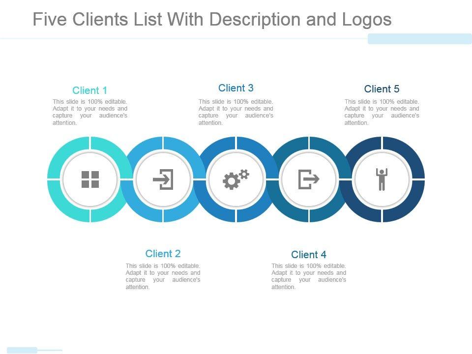 five_clients_list_with_description_and_logos_powerpoint_slide_template_slide01