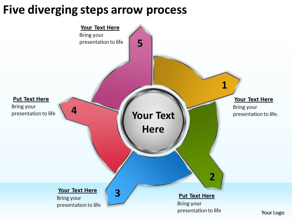Five Diverging Steps Arrow Process Cycle Flow Chart Powerpoint
