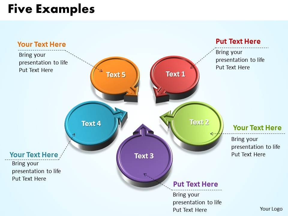 five examples with circles and arrows pointing inwards powerpoint