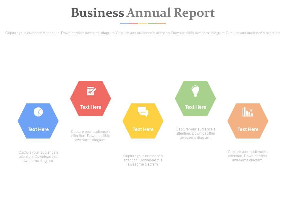 five_hexagons_with_business_annual_report_powerpoint_slides_Slide01