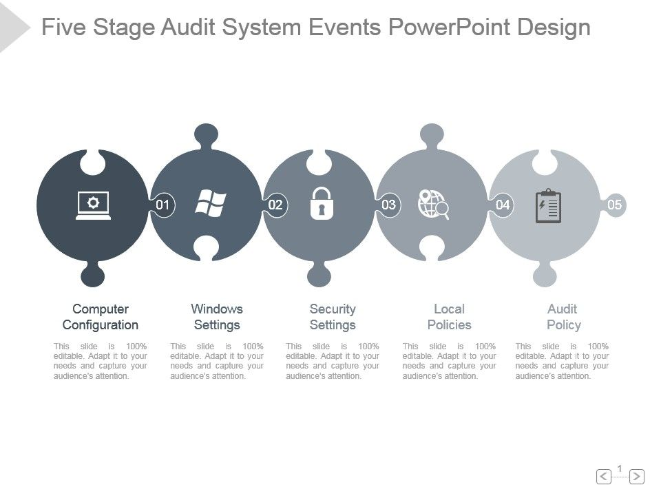five_stage_audit_system_events_powerpoint_design_Slide01 77649558 style puzzles linear 5 piece powerpoint presentation