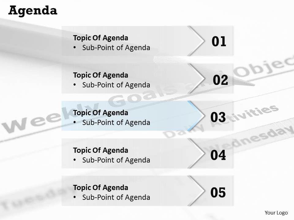 five_staged_agenda_topic_display_diagram_0214_Slide01