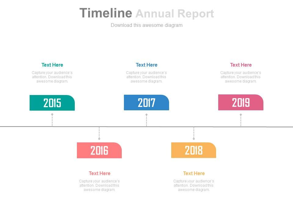 five_staged_annual_report_with_year_based_tags_powerpoint_slides_Slide01