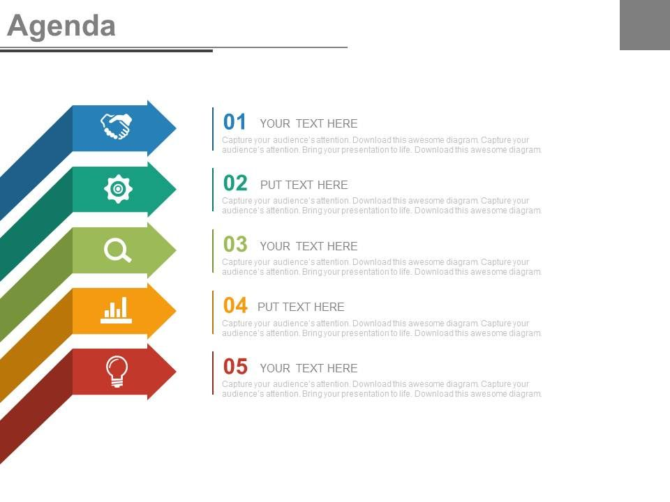 Five Staged Arrows And Icons For Business Agenda ...