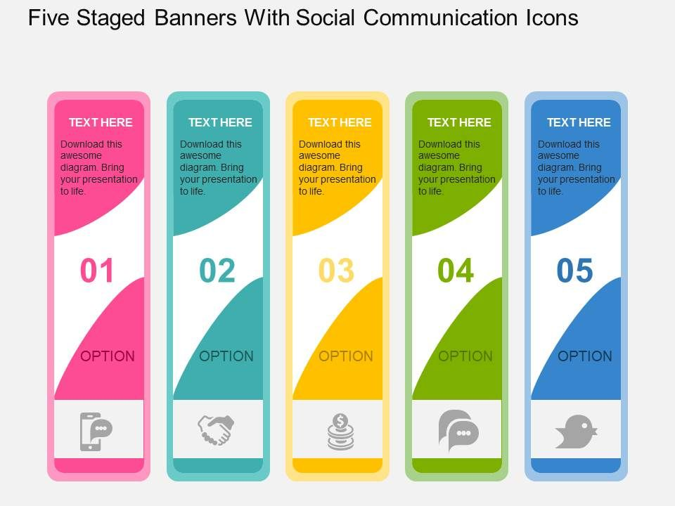 five_staged_banners_with_social_communication_icons_flat_powerpoint_design_Slide01
