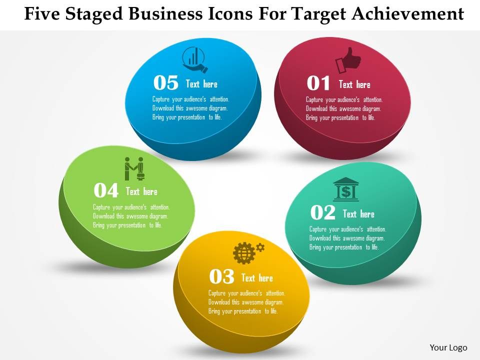 five staged business icons for target achievement powerpoint, Achievement Presentation Template, Presentation templates