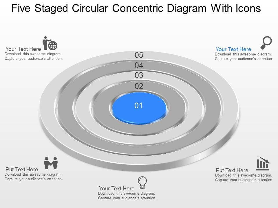 Five Staged Circular Concentric Diagram With Icons Powerpoint