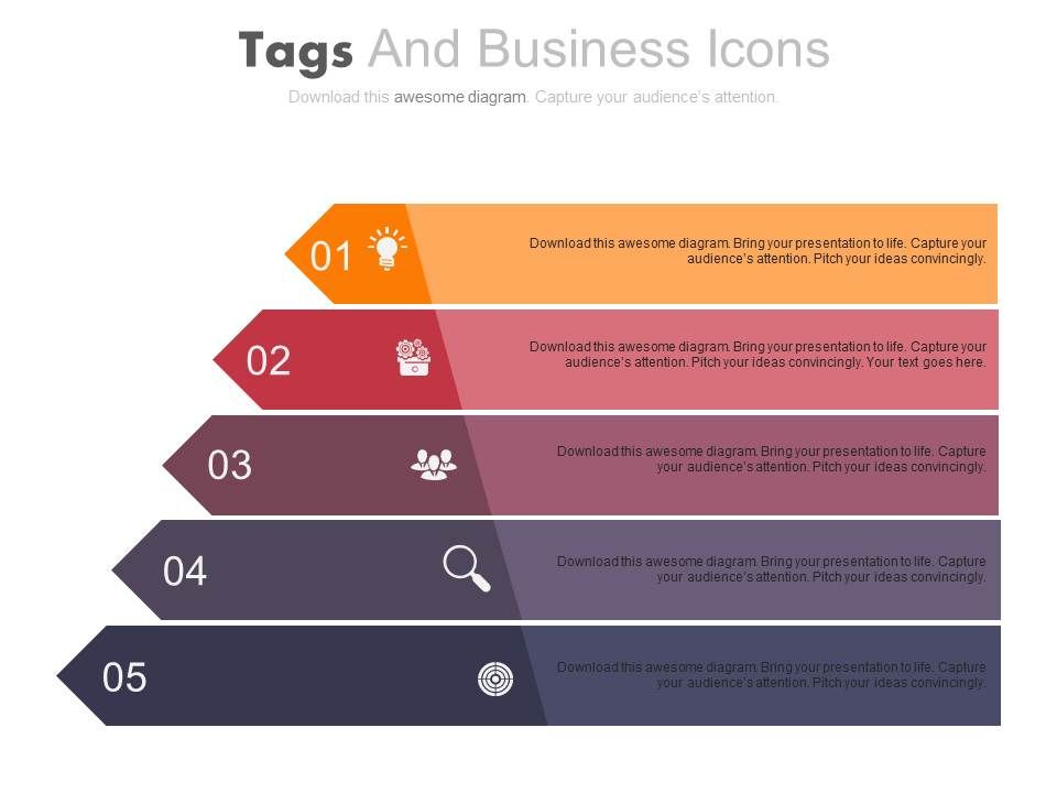 five_staged_colored_tags_and_business_icons_powerpoint_slides_Slide01
