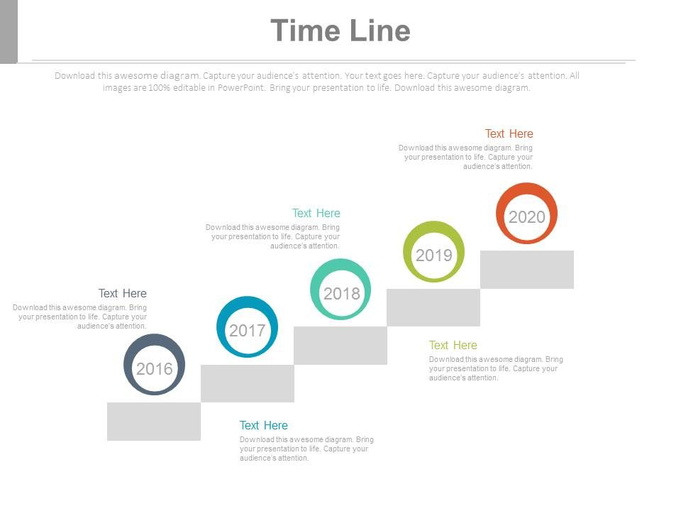 five staged company history timeline powerpoint slides, Presentation templates